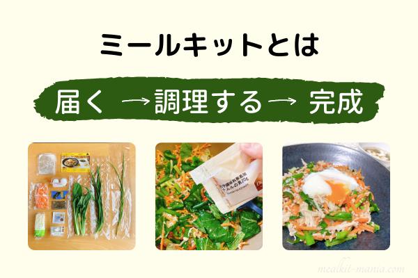 ミールキットとは、届く→調理する→完成