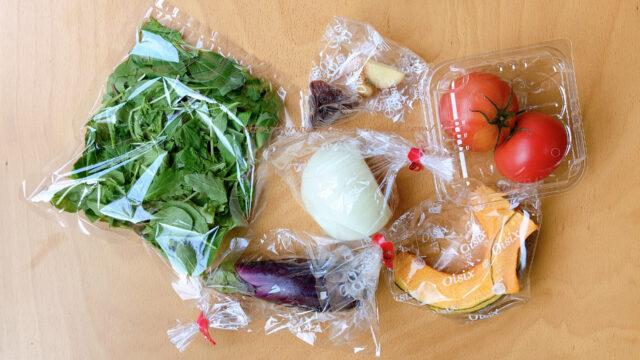 オイシックスの野菜(ベビーリーフ、なす、玉ねぎ、しょうが、レーズン、トマト、かぼちゃ)